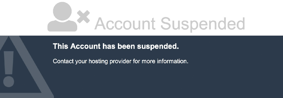 Account suspended screenshot